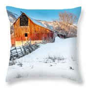 Golden Barn At Sunrise Throw Pillow