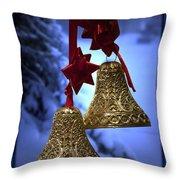 Golden Bells Blue Greeting Card Throw Pillow