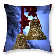 Golden Bells Red Greeting Card Throw Pillow
