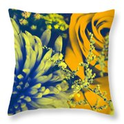 Golden Blossoms Pop Art Throw Pillow