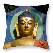 Golden Buddha Throw Pillow by Nila Newsom