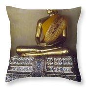 Golden Buddha On Pedestal Throw Pillow