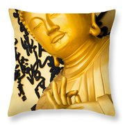 Golden Buddha Statue Throw Pillow
