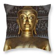 Golden Buddha Temple Statue Throw Pillow