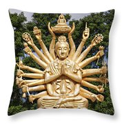 Golden Buddha With Many Arms Throw Pillow