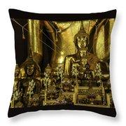 Golden Buddhas Throw Pillow