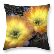 Golden Cactus Flowers  Throw Pillow