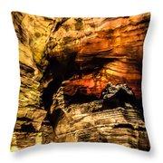 Golden Caverns Throw Pillow