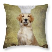 Golden Chef Throw Pillow by Susan Candelario