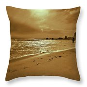 Golden Coast Sunset Throw Pillow