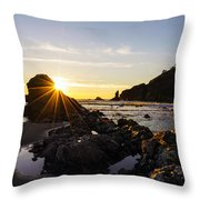 Golden Coastal Sunset Light Throw Pillow
