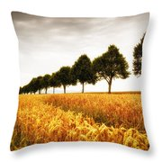 Golden Cornfield And Row Of Trees Throw Pillow