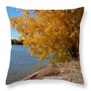 Golden Cottonwoods Throw Pillow