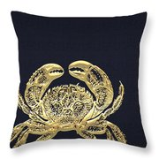 Golden Crab On Charcoal Black Throw Pillow
