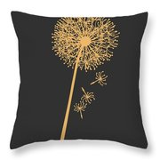 Golden Dandelion Throw Pillow