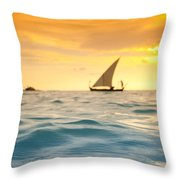 Golden Dhoni Sunset Throw Pillow by Sean Davey