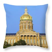 Golden Dome Of Iowa State Capital Throw Pillow