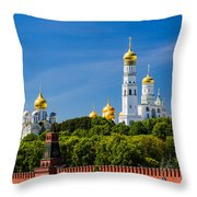 Golden Domes Of Moscow Kremlin - Featured 3 Throw Pillow