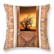 Golden Doorway Window View Throw Pillow