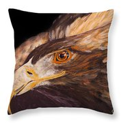 Golden Eagle Close Up Painting By Carolyn Bennett Throw Pillow