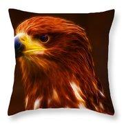 Golden Eagle Eye Fractalius Throw Pillow