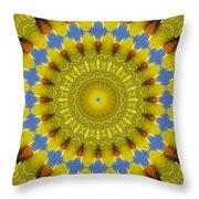 Golden Everlasting Daisy Mandala Throw Pillow