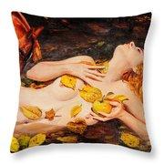 Golden Fall - The River Girl Throw Pillow