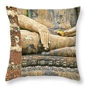 Golden Fingernails On Sitting Buddha At Wat Mahathat In Sukhothai Historical Park-thailand Throw Pillow