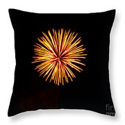 Golden Fireworks Flower Throw Pillow