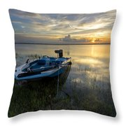 Golden Fishing Hour Throw Pillow