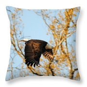 Golden Flight In April Throw Pillow