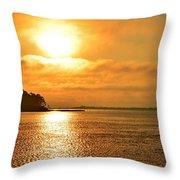 Golden Foggy Sunrise Colors On Santa Rosa Sound At Hurlburt Harbor Throw Pillow