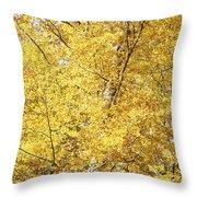 Golden Foliage Throw Pillow