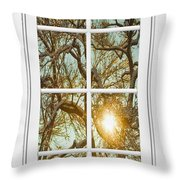 Golden Forest  Branches White 8 Windowpane View Throw Pillow