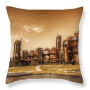 Golden Gas Works Throw Pillow