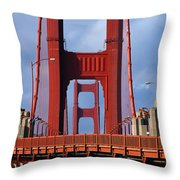 Golden Gate Bridge Throw Pillow by Adam Romanowicz