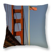 Golden Gate And American Flag Throw Pillow