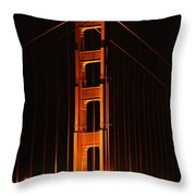 Golden Gate At Night Throw Pillow