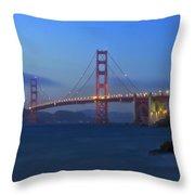 Golden Gate Bridge After Sunset Throw Pillow