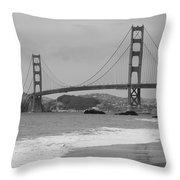 Golden Gate Bridge And Beach Throw Pillow