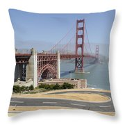 Golden Gate Bridge And Bike Path Throw Pillow