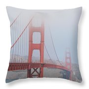 Golden Gate Bridge In Fog Throw Pillow