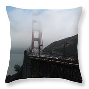 Golden Gate Bridge Pylons In A Mist Throw Pillow