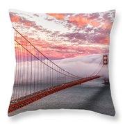 Golden Gate Bridge Sunset Evening Commute Throw Pillow