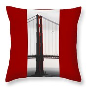 Golden Gate Bridge - Sunset With Bird Throw Pillow
