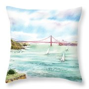 Golden Gate Bridge View From Point Bonita Throw Pillow by Irina Sztukowski