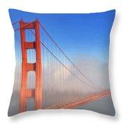 Golden Gate In Morning Fog Throw Pillow