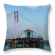 Golden Gate In The Fog Throw Pillow