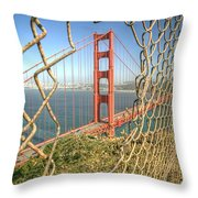 Golden Gate Through The Fence Throw Pillow by Scott Norris