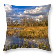 Golden Grasses Throw Pillow by Debra and Dave Vanderlaan